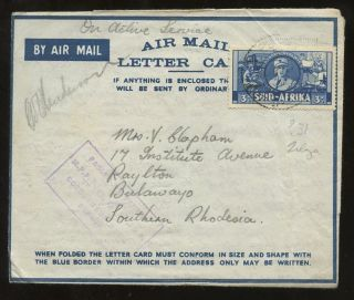 Libya 1941 Ww2 South Africa Apo Oas Lettercard. . .  Message To S.  Rhodesia photo