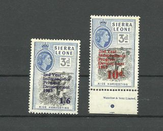 2 Staps Sierra Leone 1963 P.  O.  Overprints Black & Red photo
