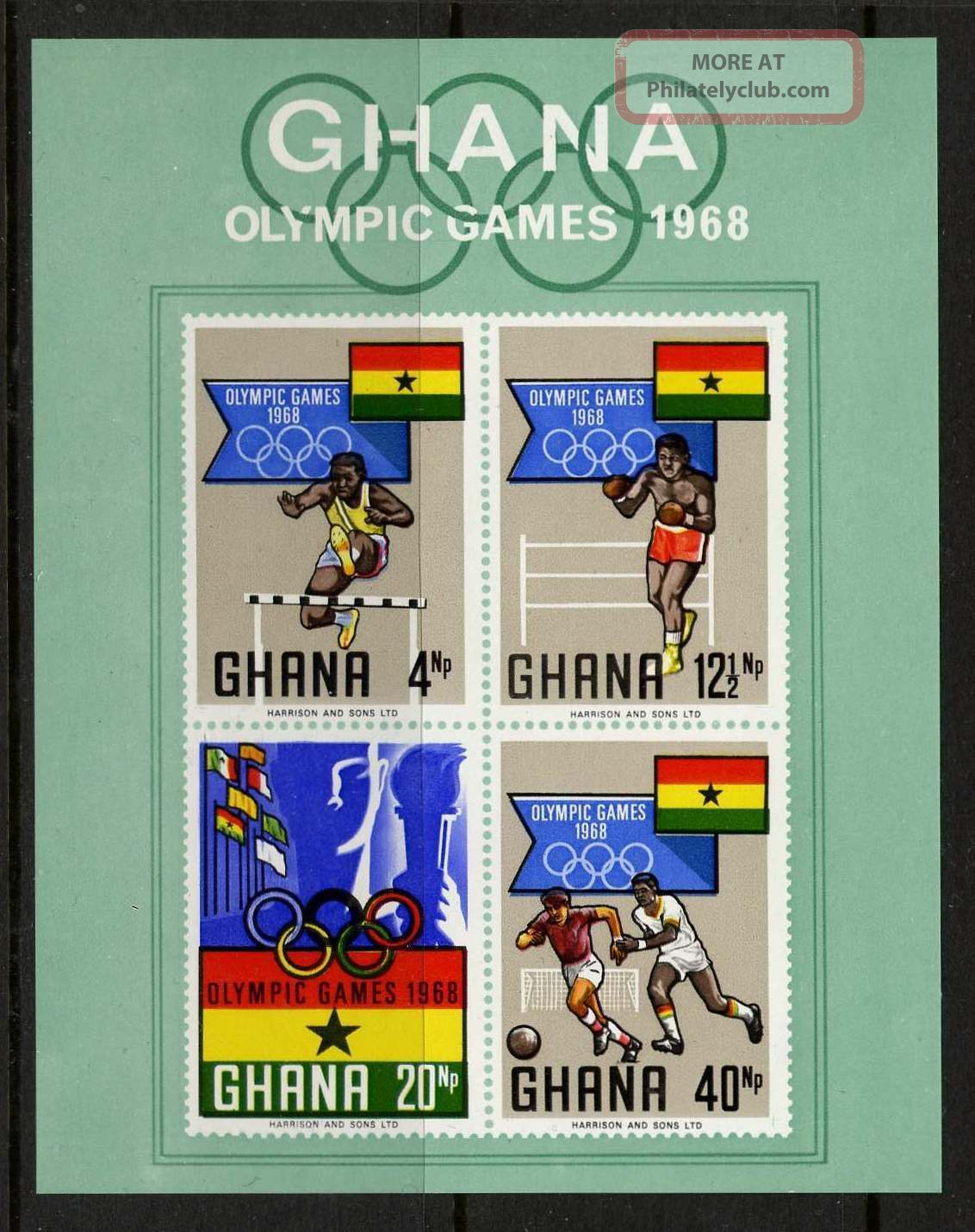 Ghana 343a Olympic Games,  Flags,  Sports,  Soccer,  Athletics,  Boxing Africa photo