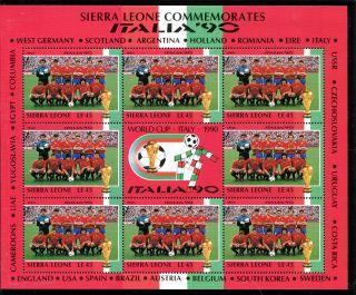 Sierra Leone 1990 Italy World Cup Sheetlet Spain Team photo