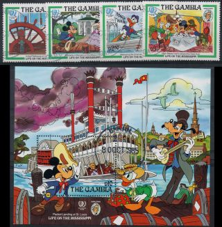 Gambia Sg 590 - 593 + Ms594 1985 Walt Disney Cartoon Scenes. photo