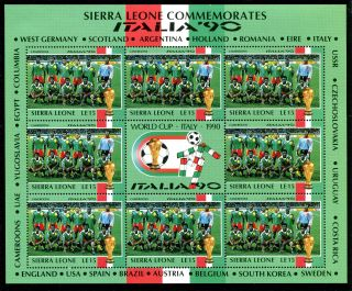 Sierra Leone 1990 Italy World Cup Sheetlet Cameroon Team photo
