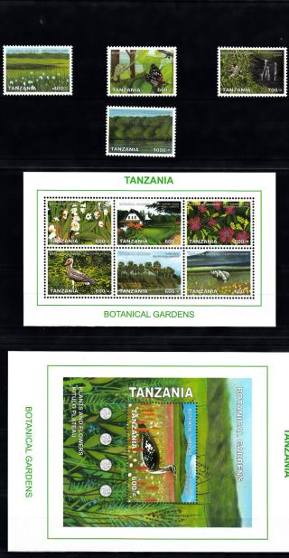 Tanzania 2008 Botanical Gardens 11v Incl 2 M/s Birds Butterfly Trees Flowers photo