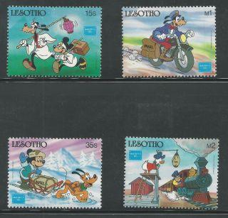 Lesotho 540 - 543 Disney,  Mail Carriers Goofy,  Mickey,  Donald,  Pluto photo