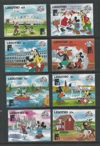 Lesotho 640 - 647 Disney,  Characters In Finland,  Finlandia 1988 photo