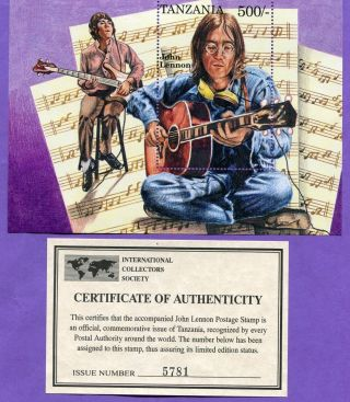 Tanzania John Lennon The Beatles 1 Unhinged Mt Stamp Sheetlet W/ photo