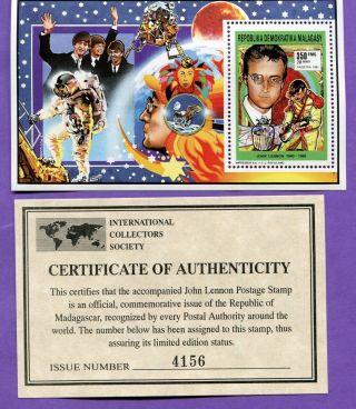 Madagascar John Lennon The Beatles 1 Unhinged Mt Stamp Sheetlet W/ photo