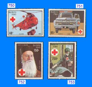 750 - 53 International Red Cross,  1985 Singles - 4 Values,  Cv=$11.  50 Helicopter photo