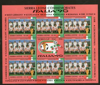 Sierra Leone 1990 Italy World Cup Le30 Sheetlet Czechoslovakia Team photo