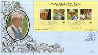 Namibia 31 March 1998 Princess Diana Miniature Sheet Benham First Day Cover Shs photo