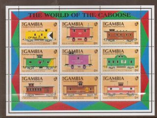 Gambia Sg1193/201 1991 Railway Brake Vans D1 Sheet photo