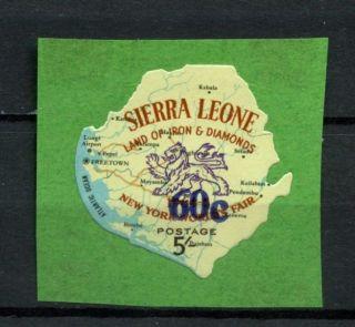 Sierra Leone 1965 Sg 347 60c On 5s Map Mh A13344 photo