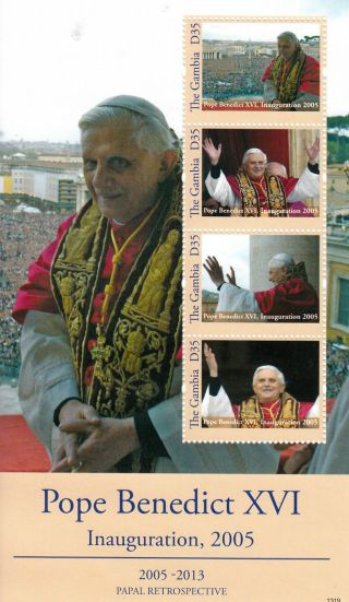 Gambia 2013 Papal Retrospective Pope Benedict Xvi Inauguration 2005 4v M/s photo