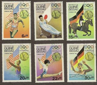 Guinea Bissau Scott 611 - 616,  Summer Olympics Los Angeles 1984 Ctos Fg Nh photo