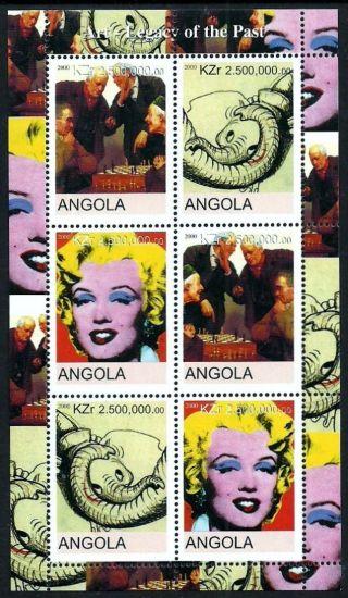 Angola 2000 Wildlife Elephants Marilyn Monroe Warhol Sports Chess Art photo