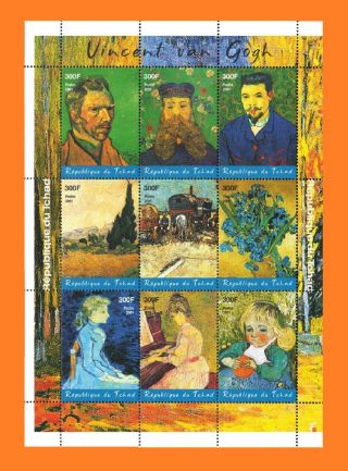 Chad 2001 Vincent Van Gogh Sht Of 9 [unauthorized By Chad Postal Authority] photo