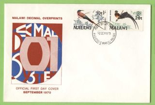 Malawi 1970 Decimal Overprints On Bird Definitives First Day Cover photo