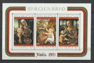 776.  Burundi 1971 Christmas Souvenir Sheet photo