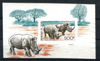 Chad 1985 Sg Ms805 Mammals,  Rhinos Imperf M/s A31945 photo
