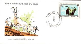 World Wildlife Fund First Day Cover - Mauritania - Scimitar - Horned Oryx - N0 77 photo