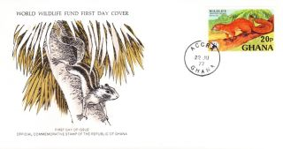 World Wildlife Fund First Day Cover - Ghana - Ebien Palm Squirrel - Issue No 56 photo