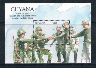 Guyana 1993 Ww Ii Meeting On Elbe Ms Sg 3640 photo