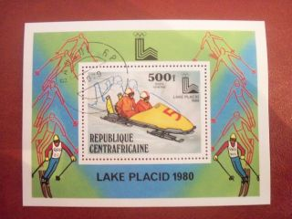 Central Africa 1980 500 F Mini Sheet Winter Olimpiad Lake Placid photo