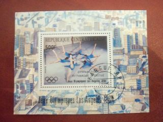 Central Africa 1984 500 F Mini Sheet Rhythmic Gymnastics Olimpic Games L.  A. photo