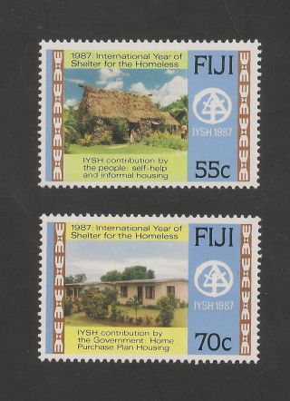 Fiji 572 - 573 Vf - 1987 55c To 70c Government House photo