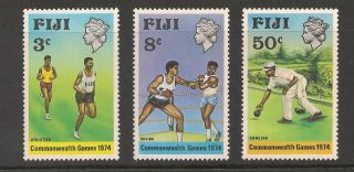 Fiji 341 - 343 Vf - 1974 35c To 50c 10th British Commonwealth Games photo