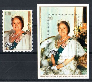 Niue 1980 Queen Mother 80th Commemorative Stamp & Sheet photo