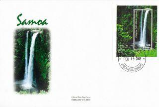 Samoa 2013 Fdc Waterfall 1v Sheet Cover Fuipisia Falls Upolu Islands River photo