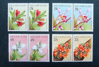 Papua Guinea: Sg.  531/4 - 1986 Orchids - Pairs - - Flora/thematic photo