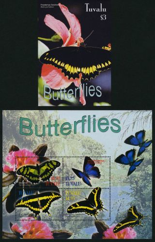 Tuvalu 923 - 4 Butterflies,  Flowers photo