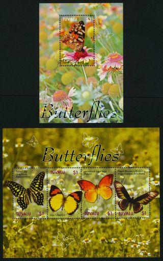 Tuvalu 1023 - 4 Butterflies,  Flowers photo