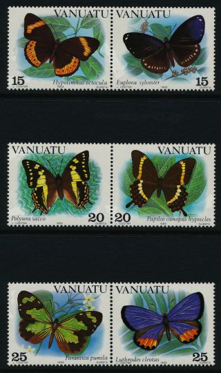 Vanuatu 346 - 8 Horizontal Pair Butterflies photo