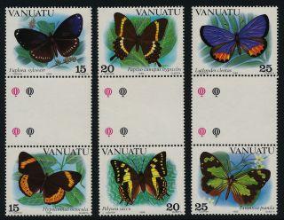 Vanuatu 346 - 8 Gutter Pairs Butterflies photo