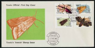 Tuvalu 566 - 9 Fdc Insects,  Moths photo