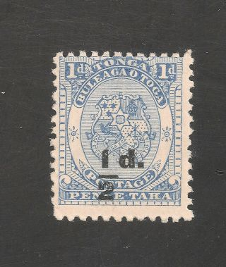 Tonga 16 (sg 19) Fvf - 1893 1/2p On 1p - Black Surcharge - Scv $50 photo