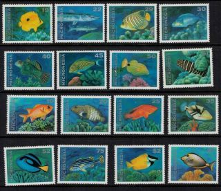 Micronesia 1993 - 1994 Sc 156 - 167 Marine Life Fish Coral photo
