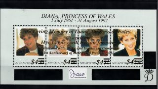 Niuafo ' Ou 2012 Princess Diana Overprint 4v M/s 1st Wedding Ann William Kate photo