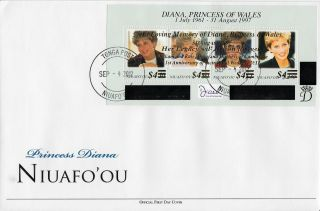 Niuafo ' Ou 2012 Fdc Princess Diana Overprint 4v M/s 1st Wedding Ann William Kate photo