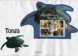 Tonga 2013 Fdc National Cultural Cntr Turtles 8v On 2 Die Cut S/s Cover Reptiles photo