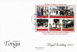 Tonga 2012 Fdc Royal Wedding 5v Sheet Cover Hrh Crown Prince Tupouto ' A Ulukalala photo