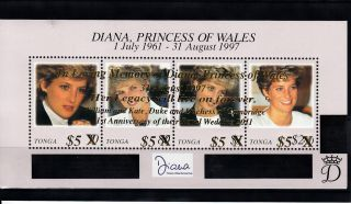 Tonga 2012 Princess Diana Overprint 4v M/s 1st Wedding Anniv William Kate photo