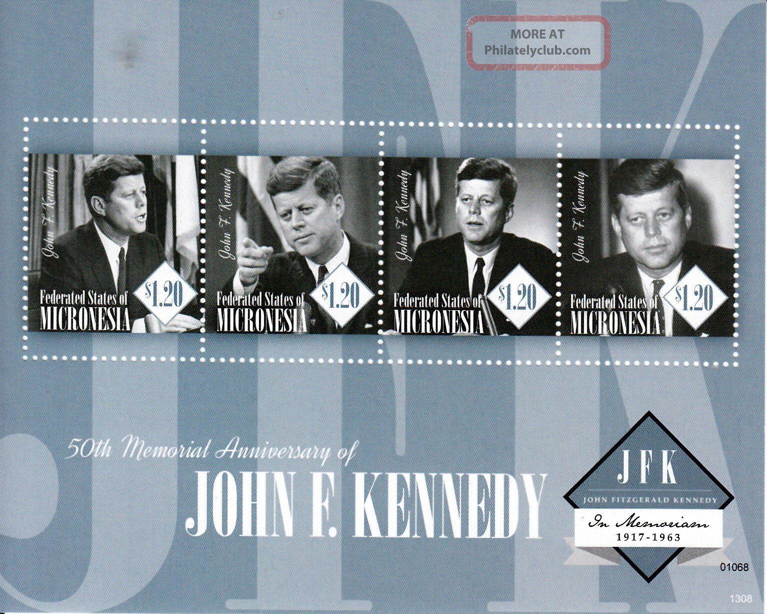 Micronesia 2013 John F Kennedy 50th Memorial Anniv 4v M/s Jfk Us Presidents Australia & Oceania photo
