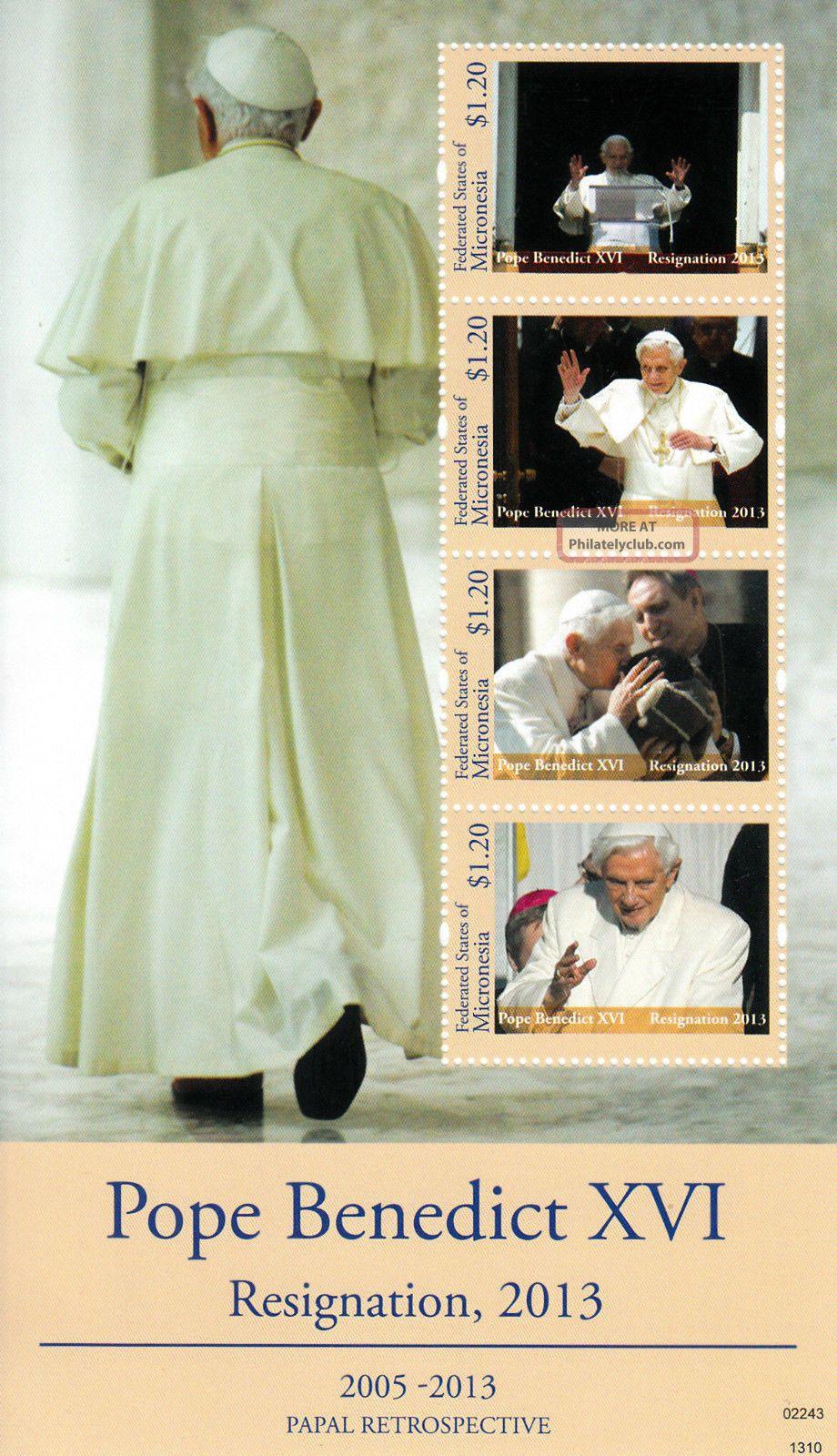Micronesia 2013 Papal Retrospective Pope Benedict Xvi Resignation I 4v M/s Australia & Oceania photo