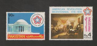 Pakistan 408 - 409 Vf - 1976 American Bicentennial - Scv $6.  00 photo