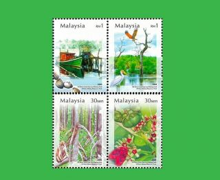 Malaysia Stamp,  2004 Mal0413 100 Year Matang Mangoves Park,  Bird,  Flower,  Place photo