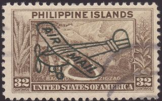 Philippine Airmail Stamp Us Stamp C51 A49 32c Olive Brown 1932 Overprint Bob photo